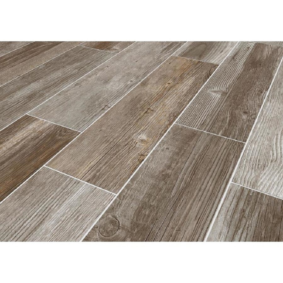 style selections woods french gray 6 in x 24 in glazed porcelain wood look floor tile lowes com