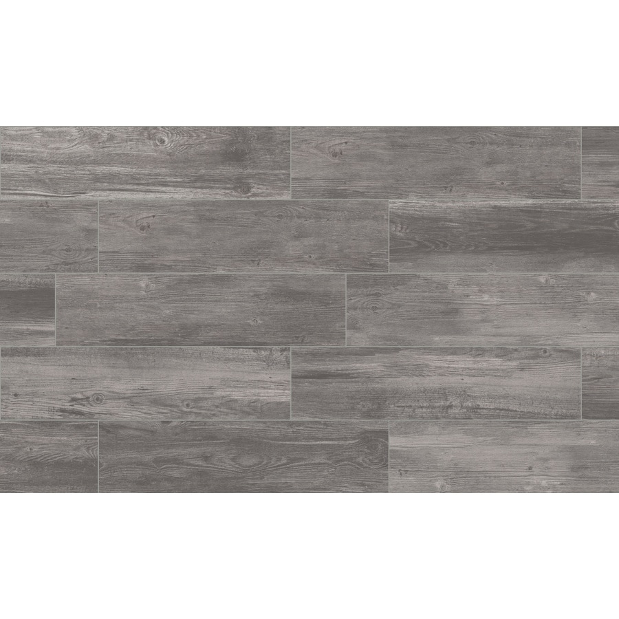 style selections woods graphite 6 in x 24 in glazed porcelain wood look floor tile