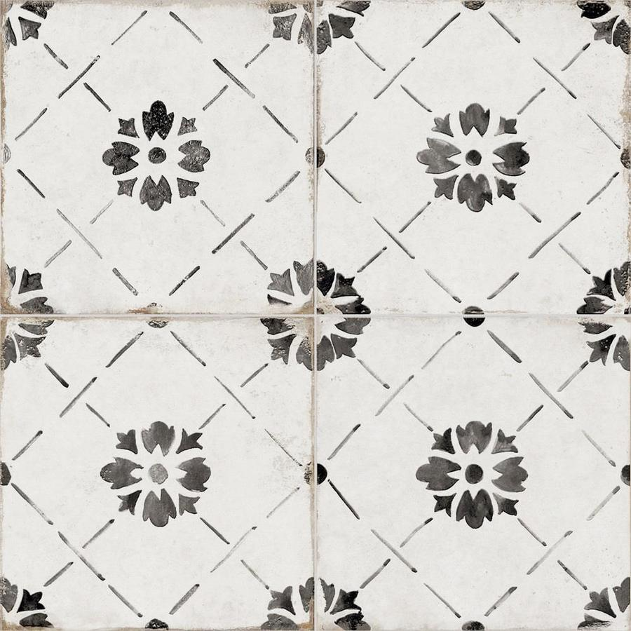 della torre sorrento vintage 29 pack black and white 8 in x 8 in glazed porcelain encaustic floor and wall tile lowes com