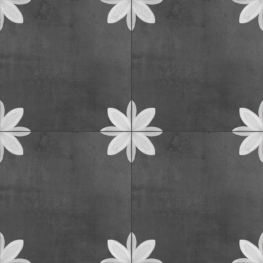 della torre fiona 29 pack black and white 8 in x 8 in glazed porcelain encaustic floor and wall tile