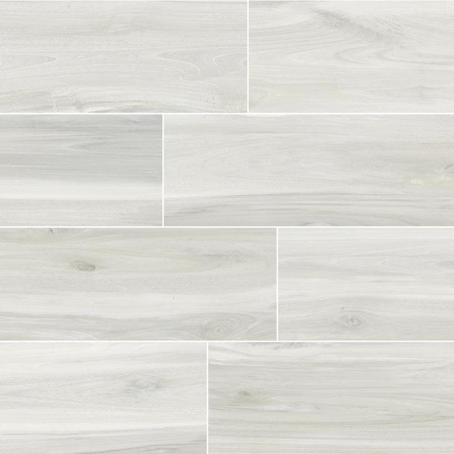 della torre birch white 6 in x 24 in glazed porcelain wood look floor and wall tile