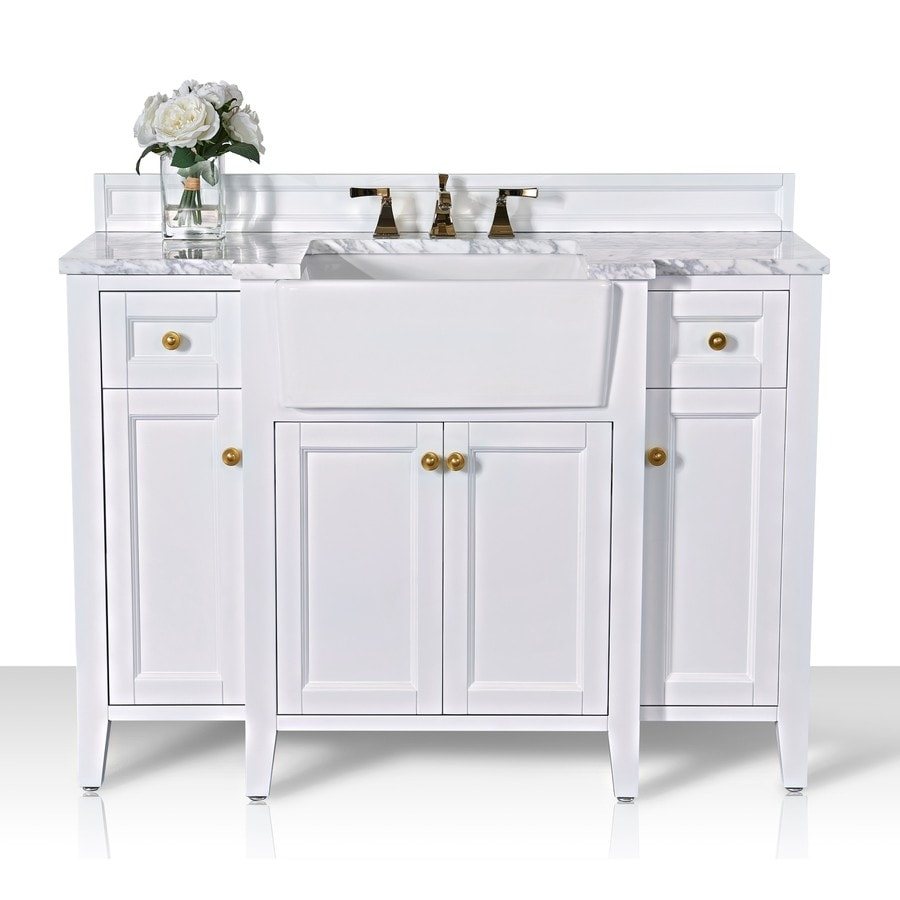 ancerre designs adeline 48 in white farmhouse single sink bathroom vanity with carrara white natural marble top lowes com