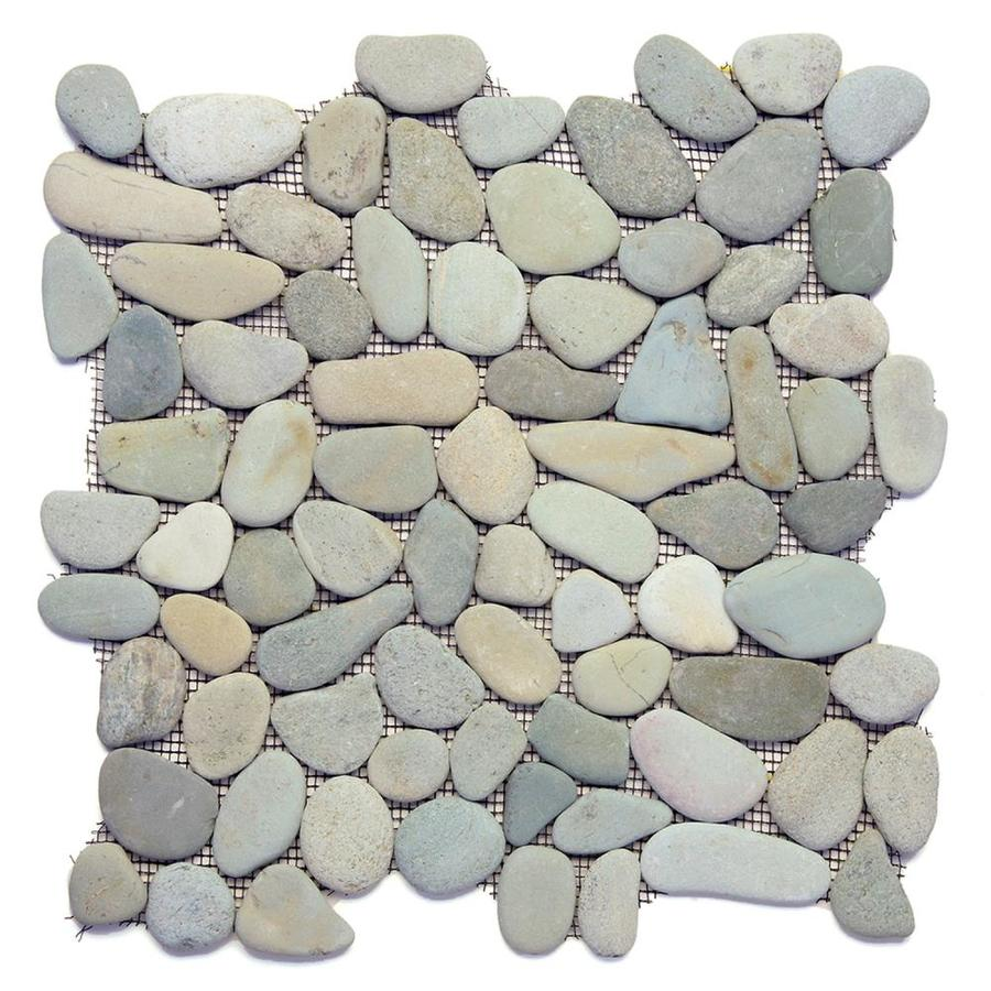 solistone river rock pebbles 10 pack turquoise 12 in x 12 in honed pebble mosaic floor and wall tile