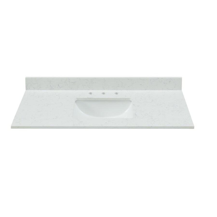 bestview 43 in carrara white quartz single sink bathroom vanity top
