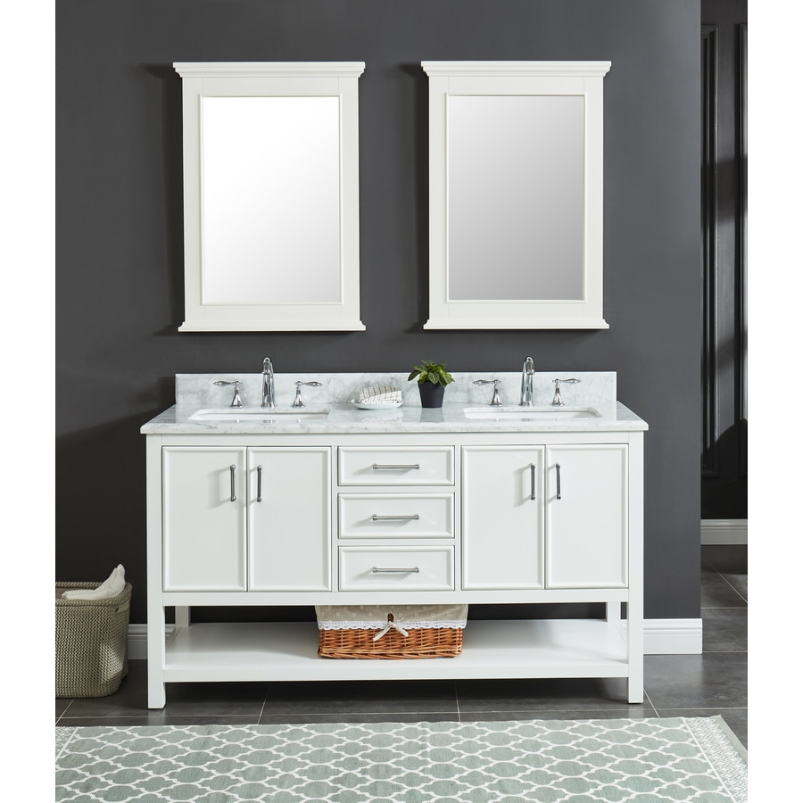 Bathroom Vanity Lowes Allen Roth Presnell 61 In Dove White Double Sink Bathroom Vanity