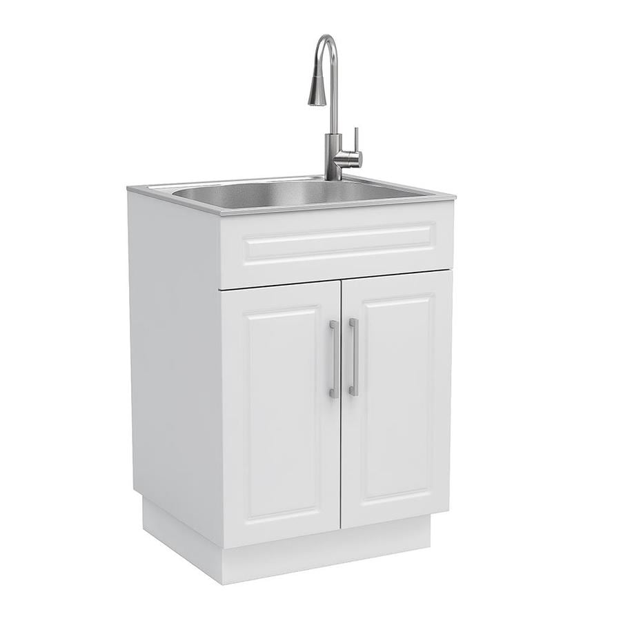 style selections 21 4 in x 24 1 in 1 basin white freestanding utility tub with faucet lowes com
