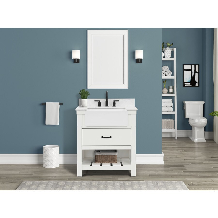 allen roth briar 31 in white farmhouse single sink bathroom vanity with white engineered stone top