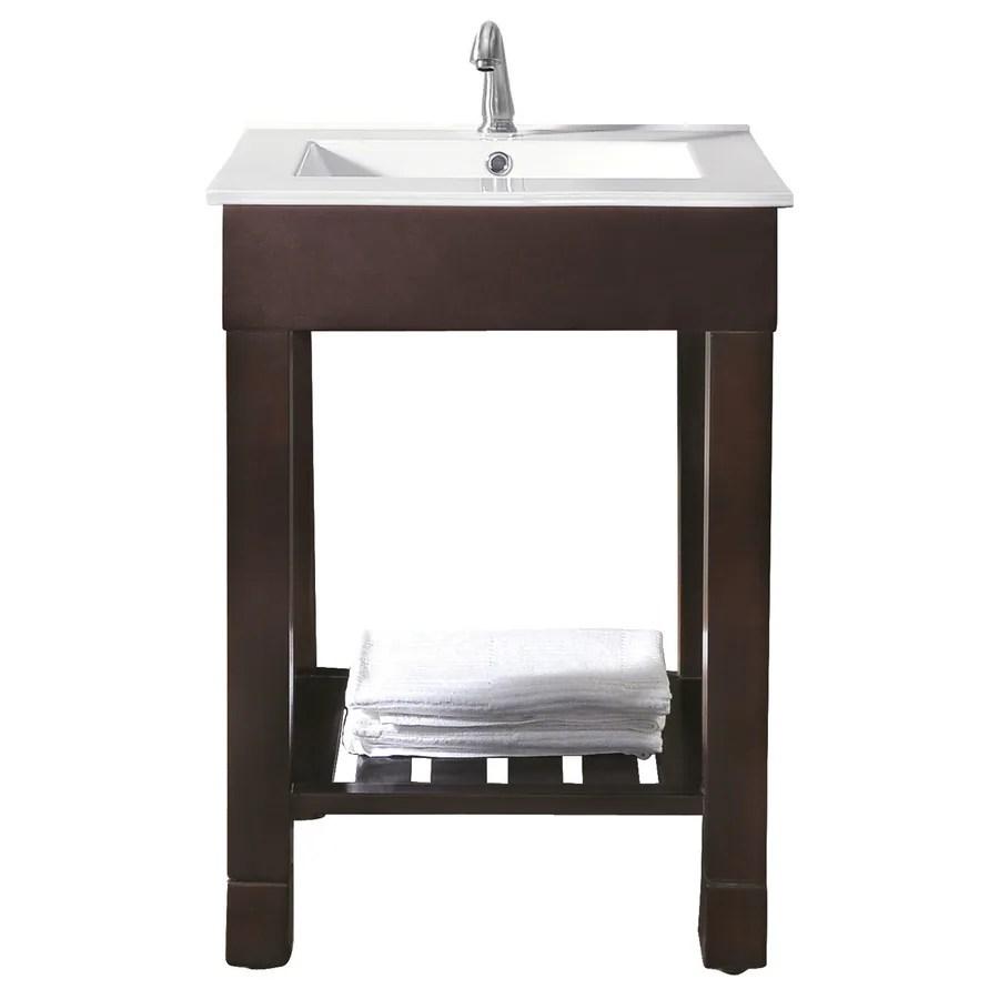 Avanity Loft 25in Dark Walnut Single Sink Bathroom Vanity with White Vitreous China Top at