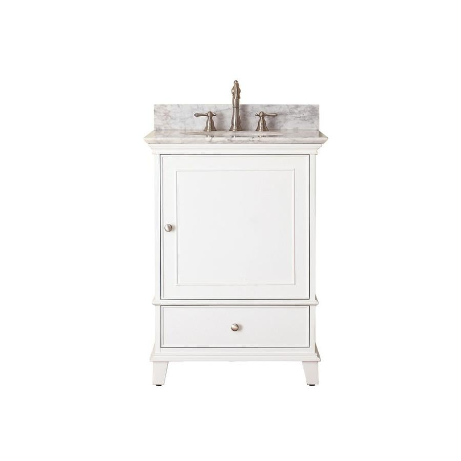 Avanity Windsor 25in White Single Sink Bathroom Vanity with White Natural Marble Top at Lowescom