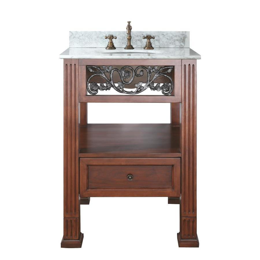 Avanity Napa 25in Espresso Single Sink Bathroom Vanity with White Natural Marble Top at Lowescom