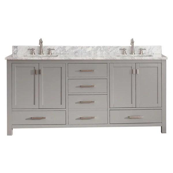 gray double sink bathroom vanity Shop Avanity Modero Chilled Gray Double Sink Vanity with White Natural Marble Top (Common: 73-in