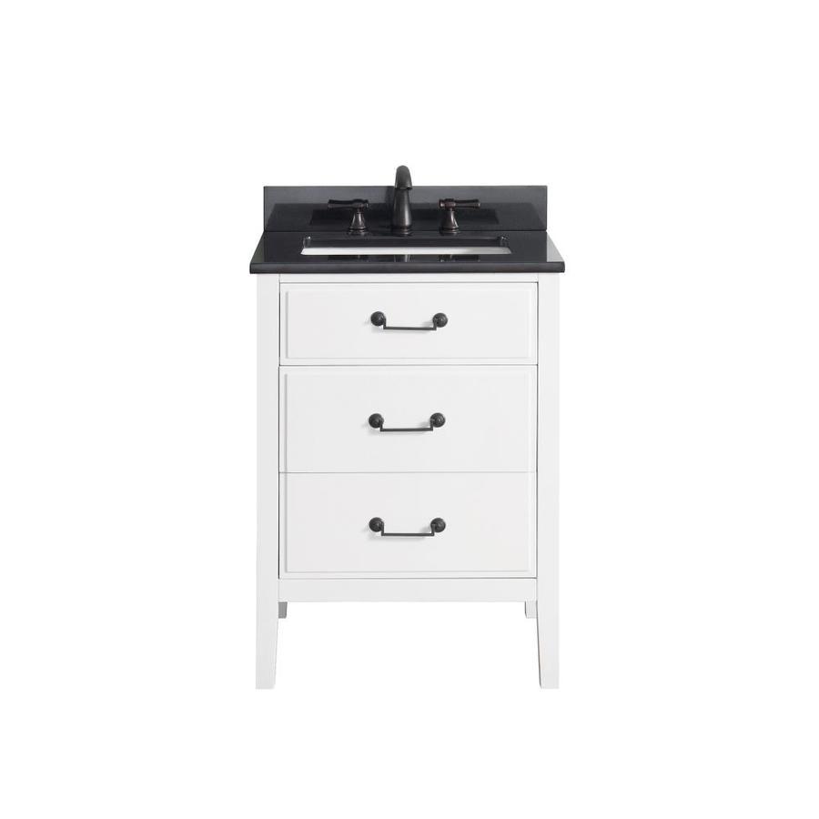 Avanity Delano 25in White Single Sink Bathroom Vanity with Black Granite Top at Lowescom