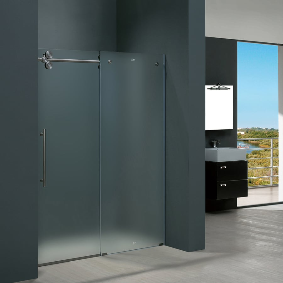 Shop VIGO Elan 56 In To 60 In Frameless Stainless Steel Sliding Shower Door At