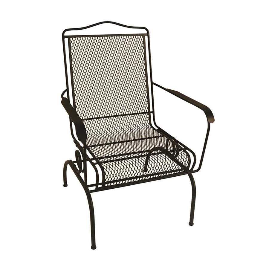 garden treasures stackable black metal frame spring motion dining chair s with mesh seat seat lowes com