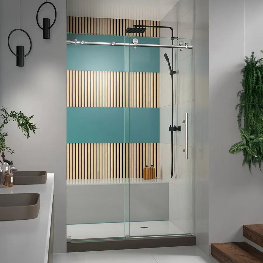 DreamLine EnigmaX 44in to 48in W Frameless BypassSliding Brushed Stainless Steel Shower Door