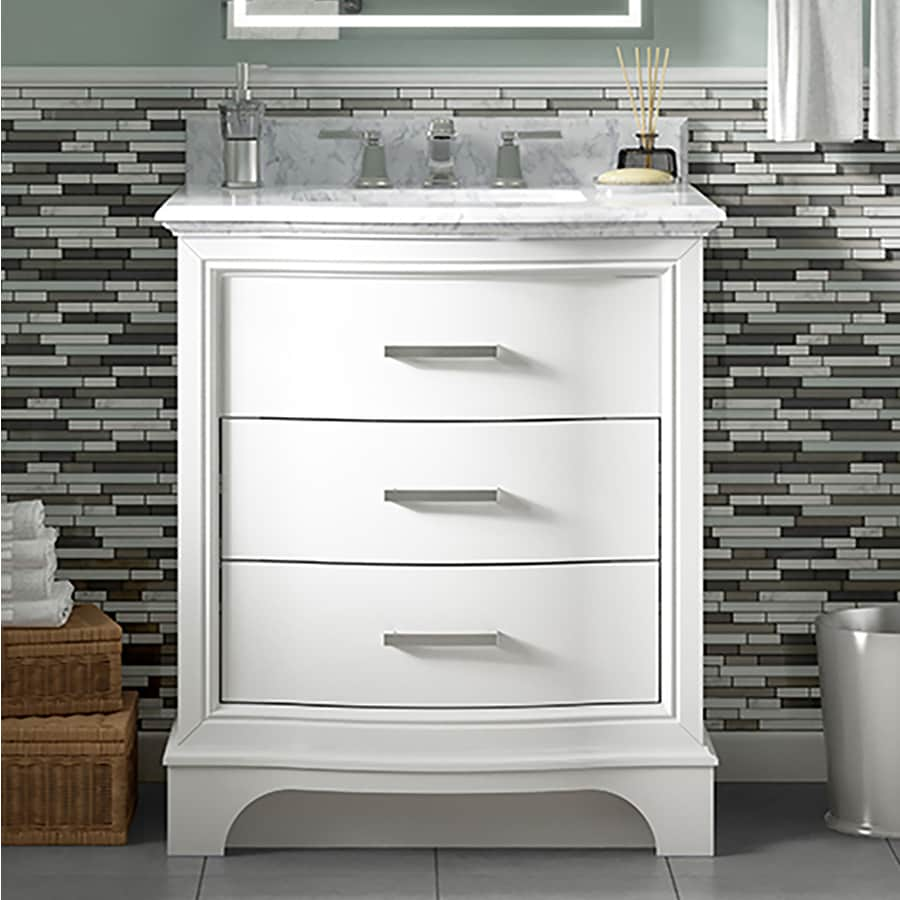 allen roth tennaby 30 in white single sink bathroom vanity with natural carrara marble top