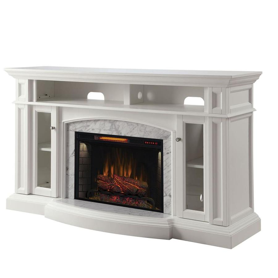 Shop Scott Living 66in W 5100BTU White Wood Flat Wall Infrared Quartz Electric Fireplace Media