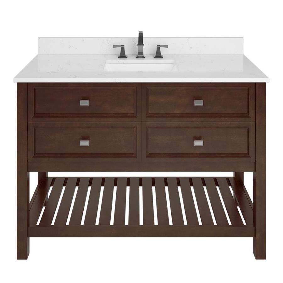 allen roth canterbury 48 in mahogany single sink bathroom vanity with carrara engineered stone top