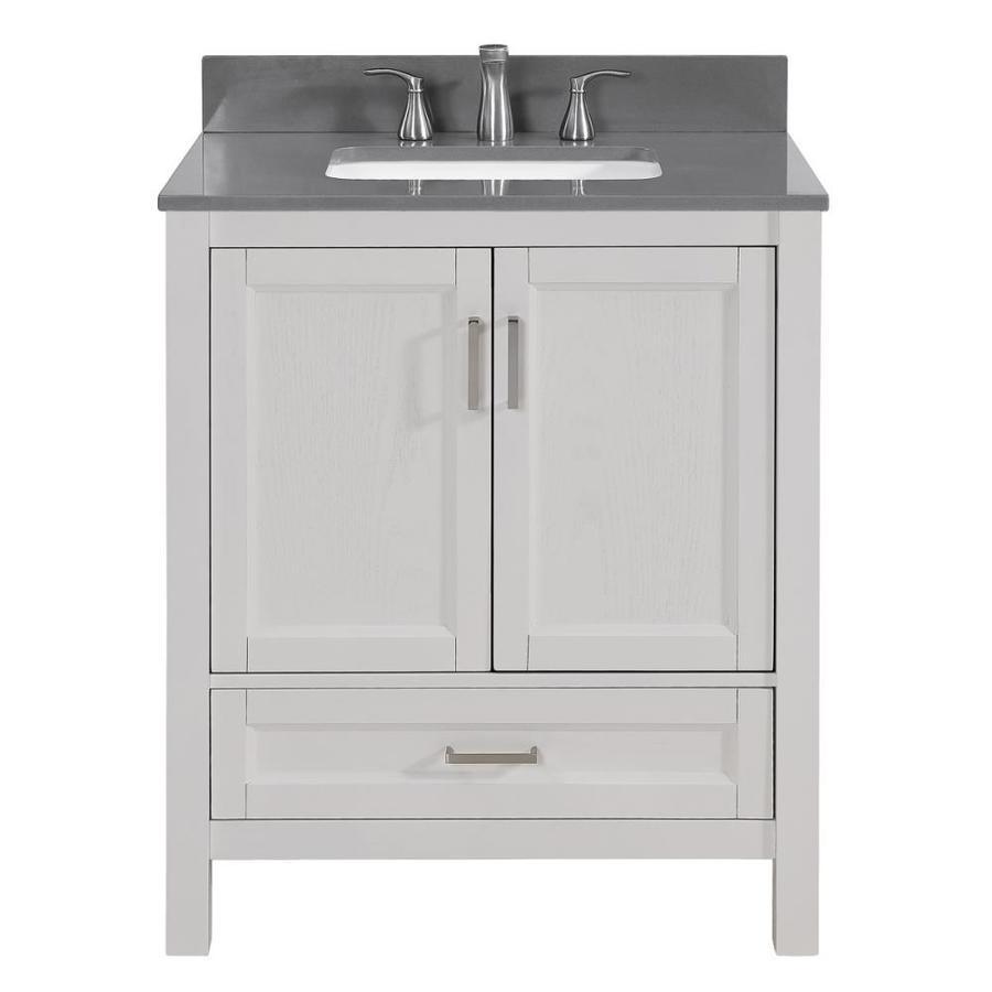scott living durham white oak single sink vanity with dark gray engineered stone top common 30 in x 22 in