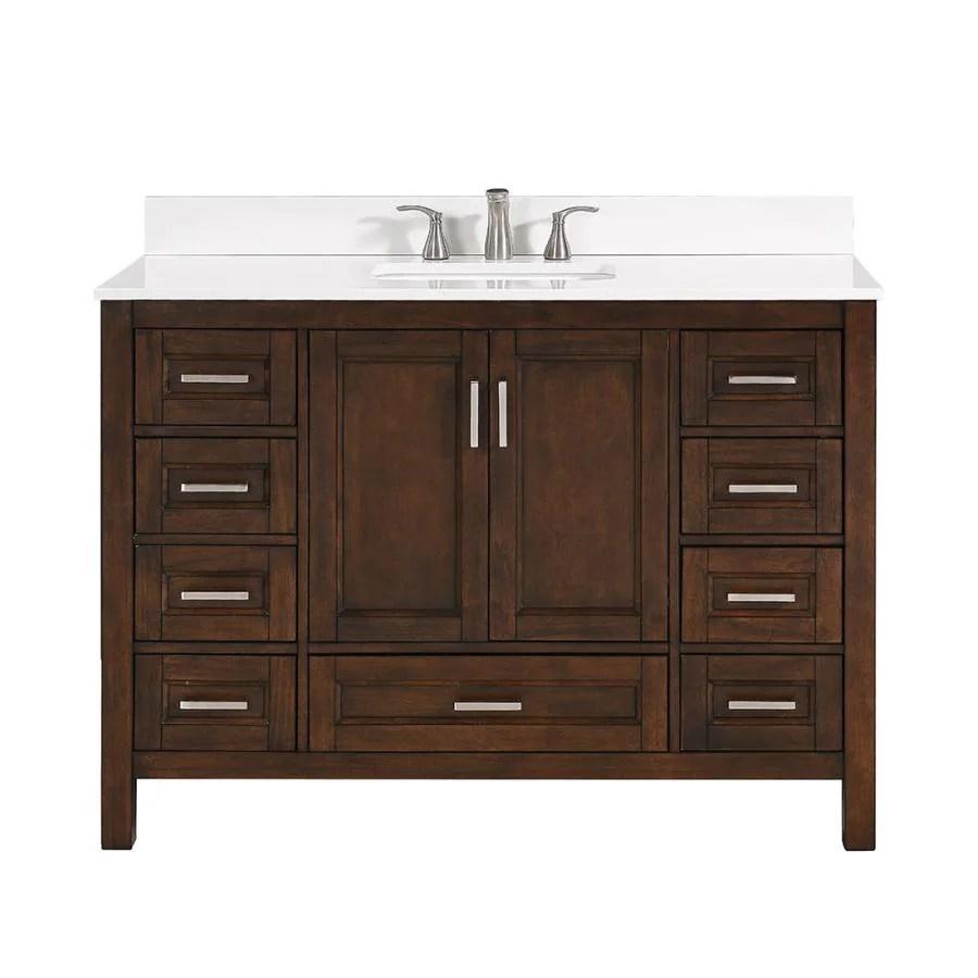 scott living durham 48 in chocolate single sink bathroom vanity with white engineered stone top