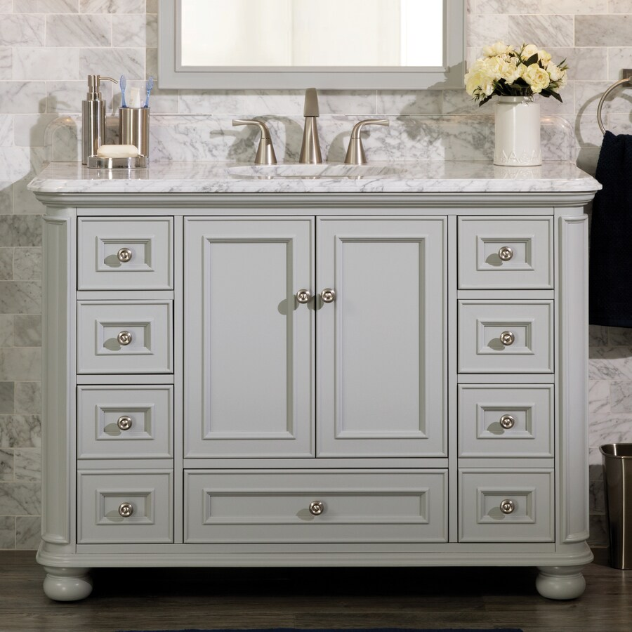 scott living wrightsville 48 in light gray single sink bathroom vanity with natural carrara marble top
