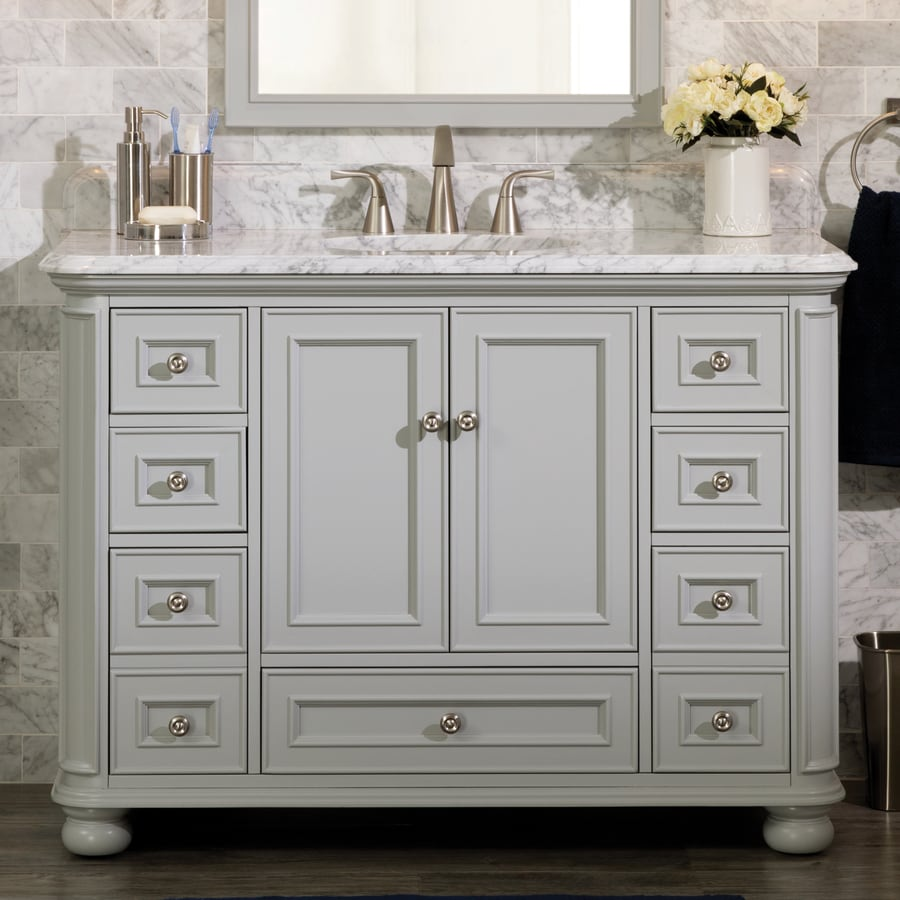 Scott Living Wrightsville 48 In Light Gray Single Sink Bathroom Vanity With Natural Carrara Marble Top In The Bathroom Vanities With Tops Department At Lowes Com