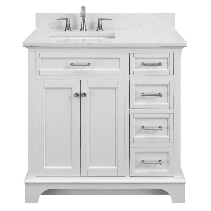 Scott Living Roveland 36in White Single Sink Bathroom Vanity with Terrazzo Engineered Stone Top