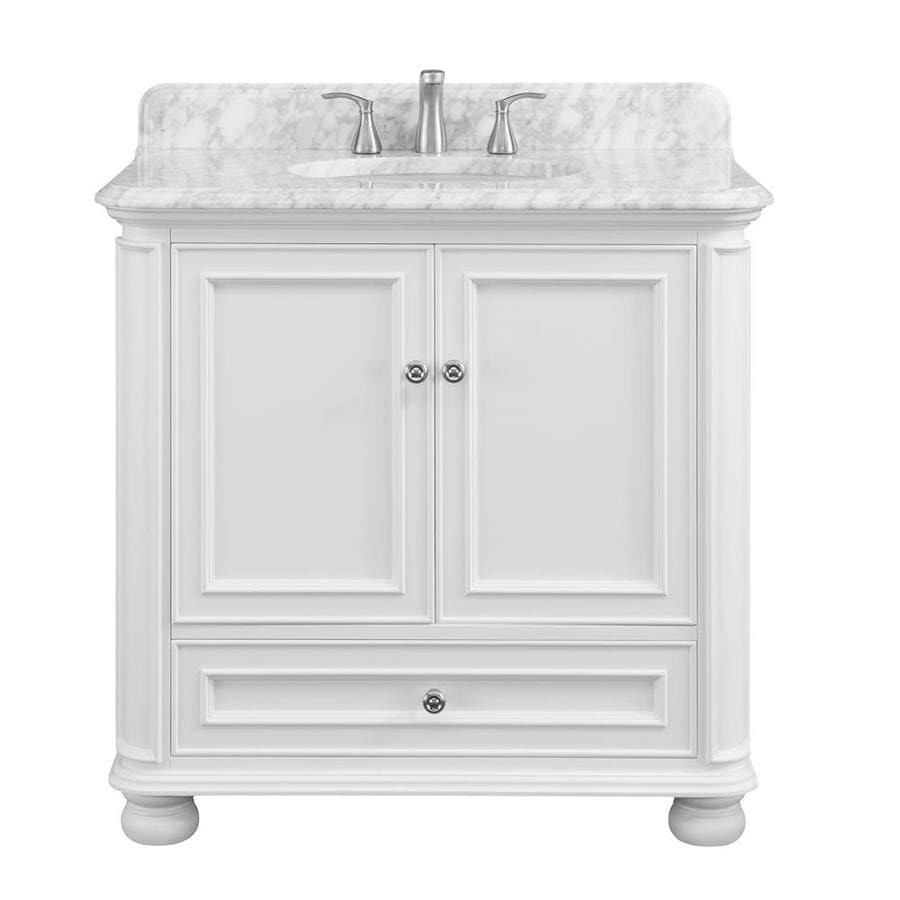Scott Living Wrightsville 36 In White Single Sink Bathroom Vanity With Natural Carrara Marble Top In The Bathroom Vanities With Tops Department At Lowes Com