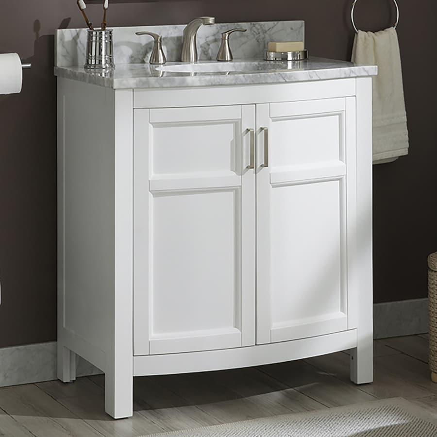 Allen Roth Moravia 30 In White Single Sink Bathroom Vanity With Natural Carrara Marble Top In The Bathroom Vanities With Tops Department At Lowes Com