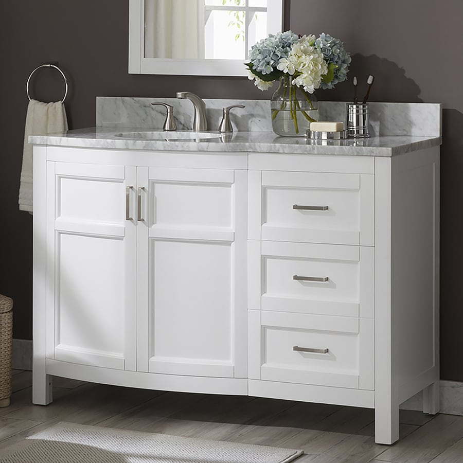 Allen Roth Moravia 48 In White Single Sink Bathroom Vanity With Natural Carrara Marble Top In The Bathroom Vanities With Tops Department At Lowes Com
