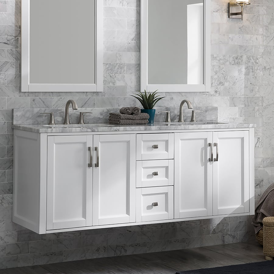 Allen Roth Floating 60 In White Double Sink Bathroom Vanity With Natural Carrara Marble Top In The Bathroom Vanities With Tops Department At Lowes Com