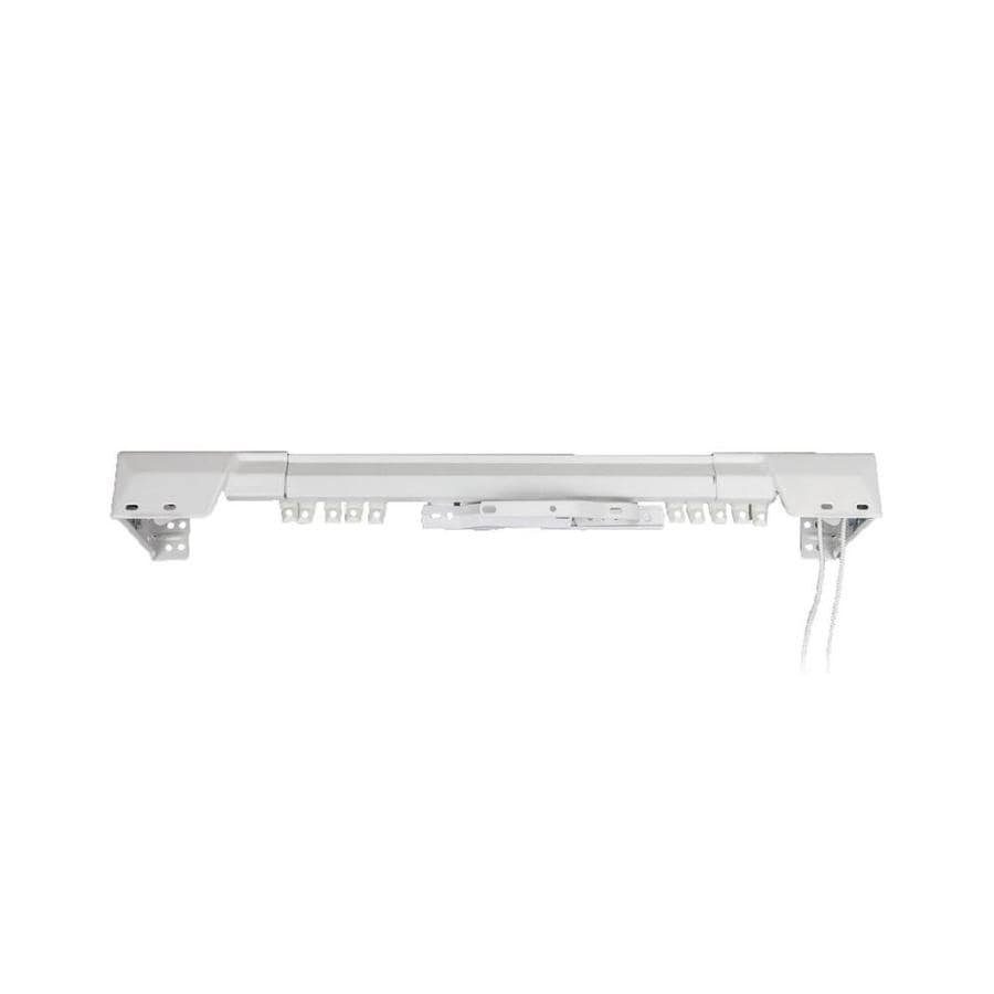 rod desyne center open 66 in to 120 in white steel traverse curtain rod