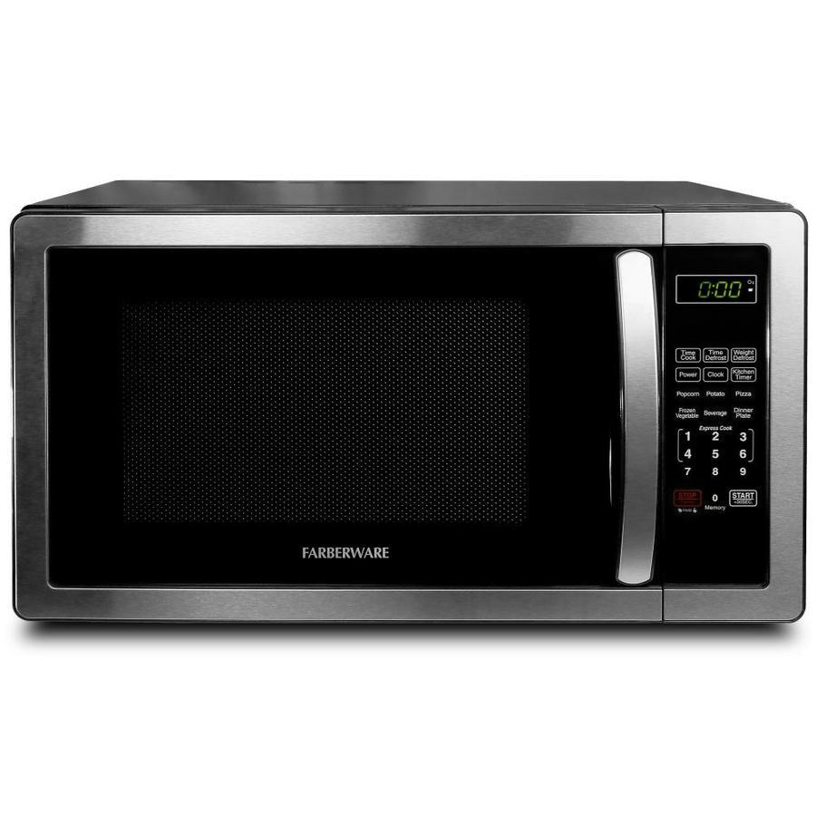 farberware 1 1 cu ft 1000 watt countertop microwave stainless steel black