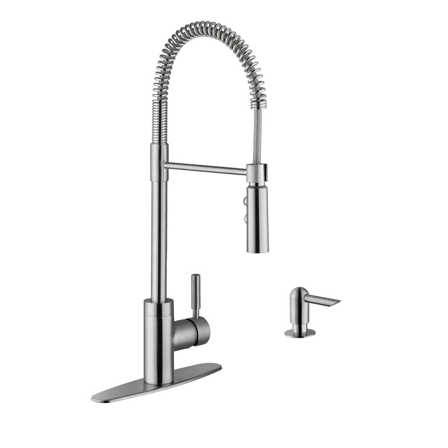 kitchen faucets stainless steel cabinets amish superior sinks 1 handle deck mount pre rinse faucet