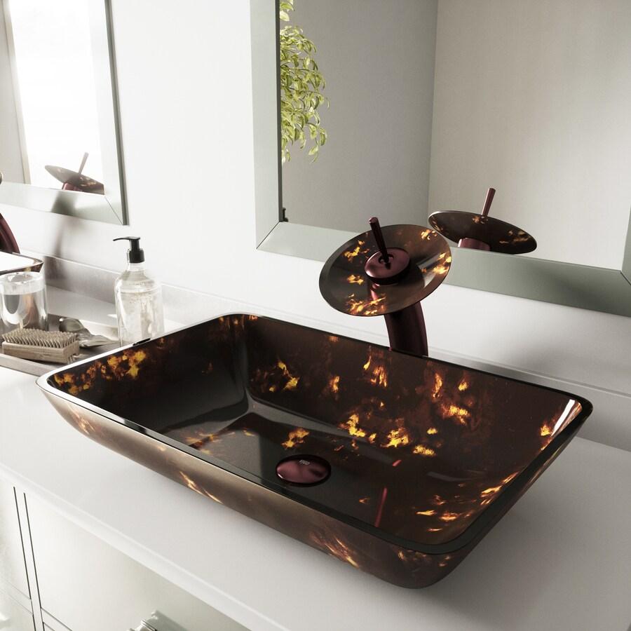lowes sinks kitchen sink white shop vigo brown and gold fusion glass vessel bathroom ...