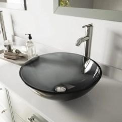 Black Kitchen Sink Lowes 6 Ft Island Shop Vigo And Brushed Nickel Glass Vessel Bathroom ...