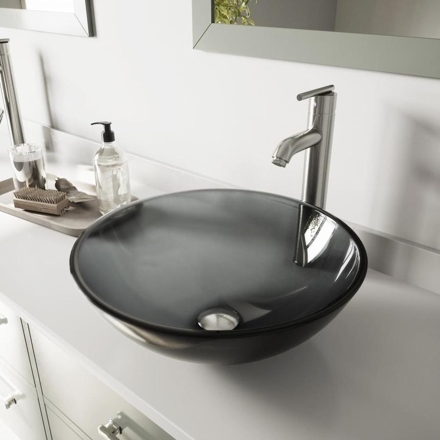 kitchen faucets lowes replace fluorescent light fixture in shop vigo black and brushed nickel glass vessel bathroom ...