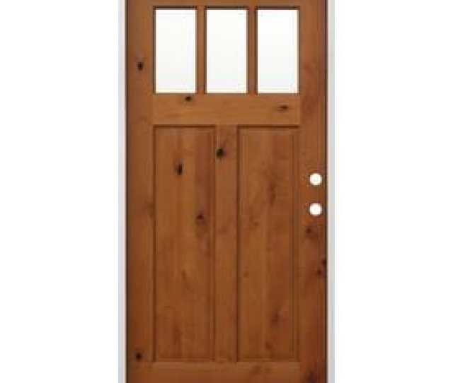 Creative Entryways Craftsman Clear Glass Left Hand Inswing Golden Alder Stained Wood Prehung Entry Door