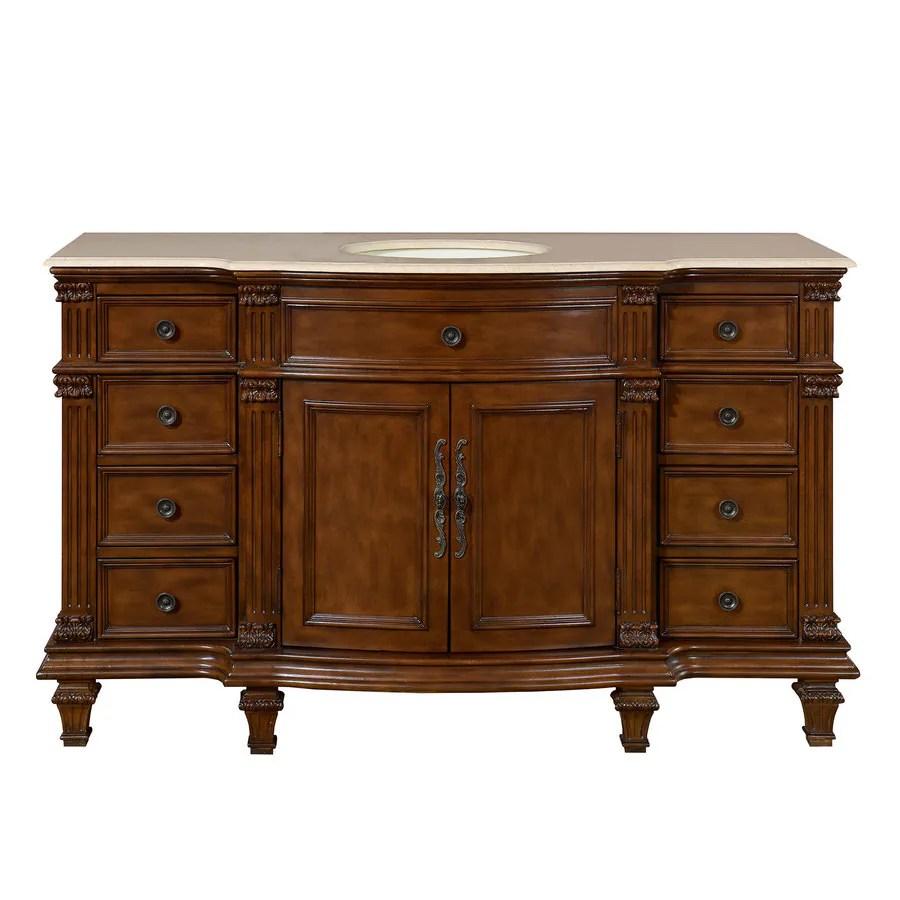 silkroad exclusive 60 in brazilian rosewood undermount single sink bathroom vanity with crema marfil natural marble top