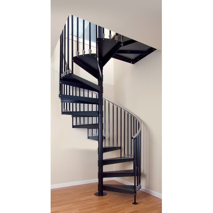 The Iron Shop Elk Grove 42 In X 10 25 Ft White Spiral Staircase   5 Foot Spiral Staircase   Metal   Hayden Gray   Reroute Galvanized   Steel   Handrail