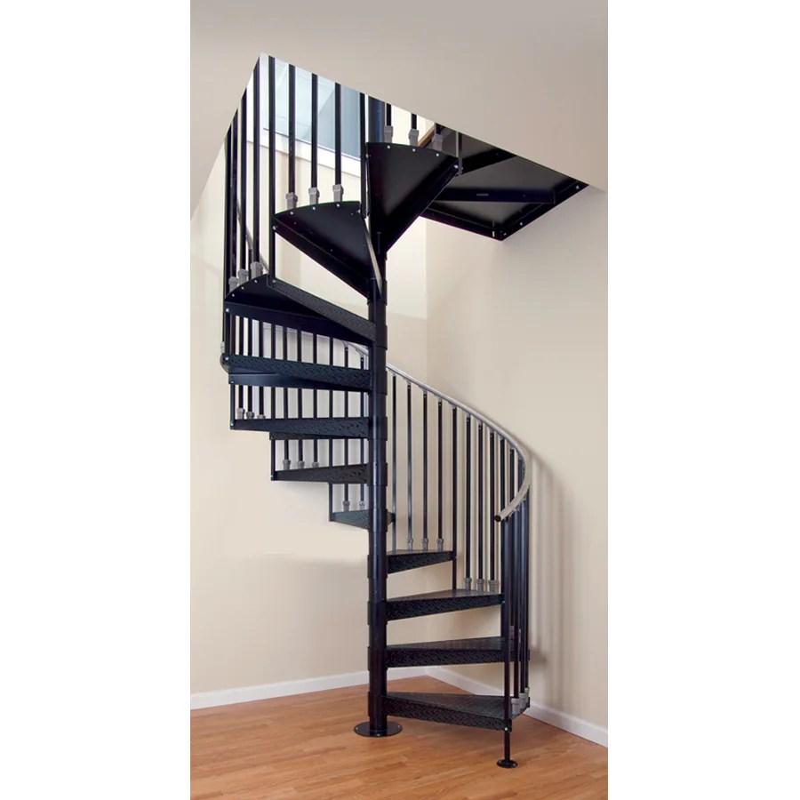The Iron Shop Elk Grove 60 In X 10 25 Ft Black Spiral Staircase   The Iron Shop Spiral Staircase   Stairs Built   Loft Staircase   Attic Loft   Staircase Ideas   White Spiral