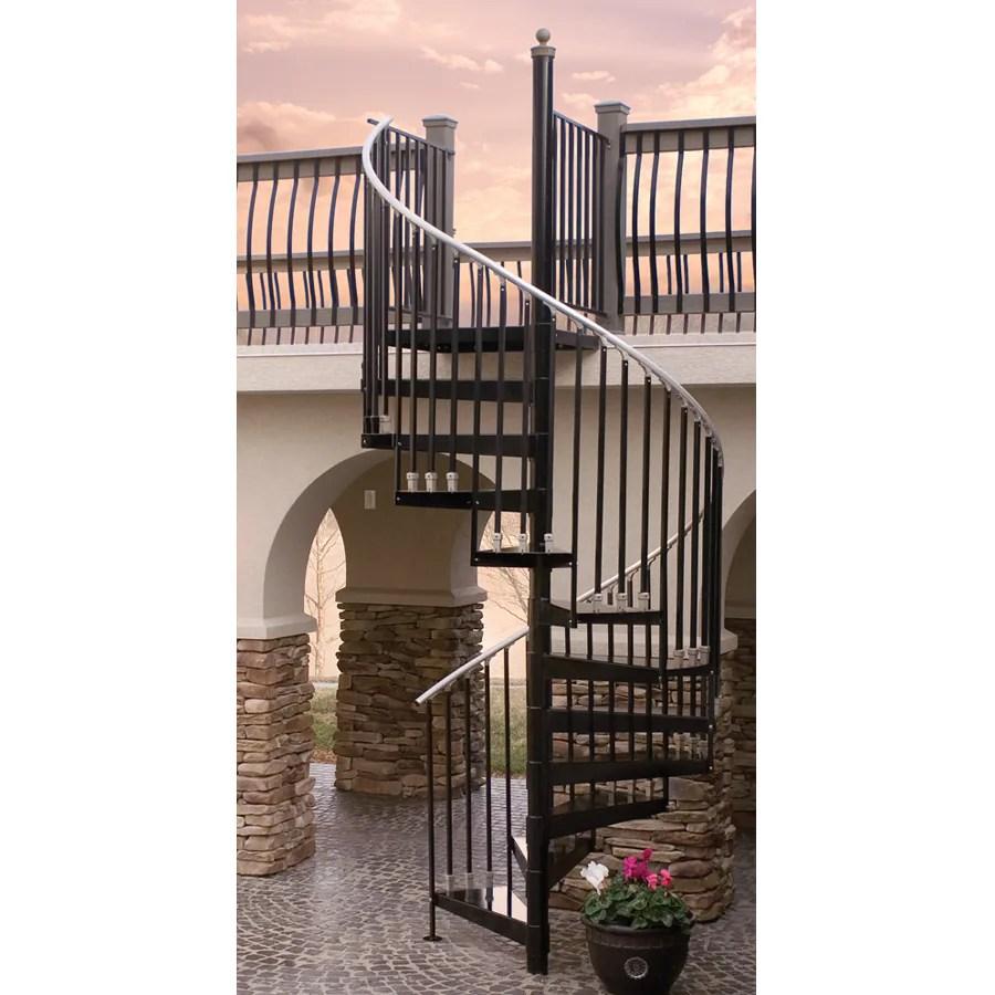 The Iron Shop Houston 48 In X 10 25 Ft Black Spiral Staircase Kit | 36 Inch Spiral Staircase | Stair Case | Steel | Steps | Tread Depth | Handrail