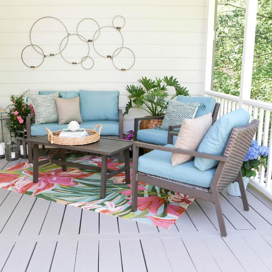 leisure made preston 4 piece metal frame patio conversation set with cushion s included