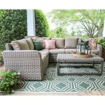 Sectional with Blue Cushion Wicker Patio Furniture