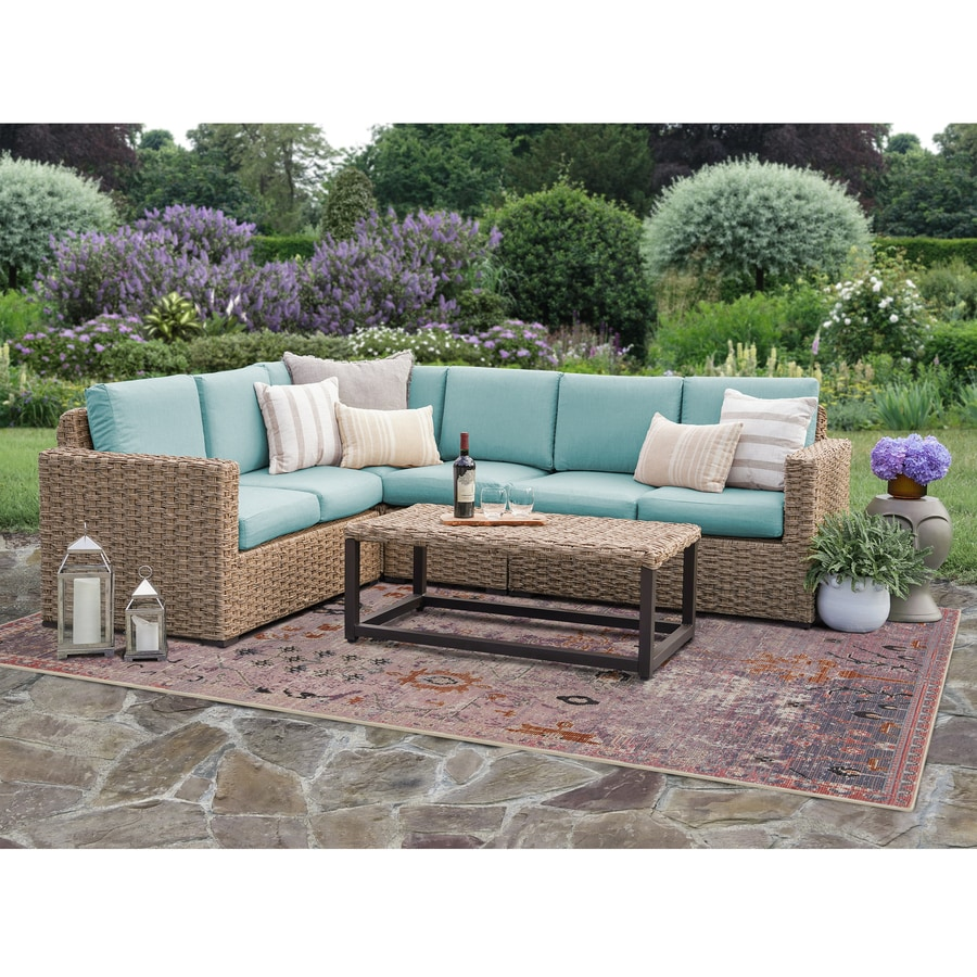 leisure made avalon woven outdoor sectional with cushion s and spa blue steel frame