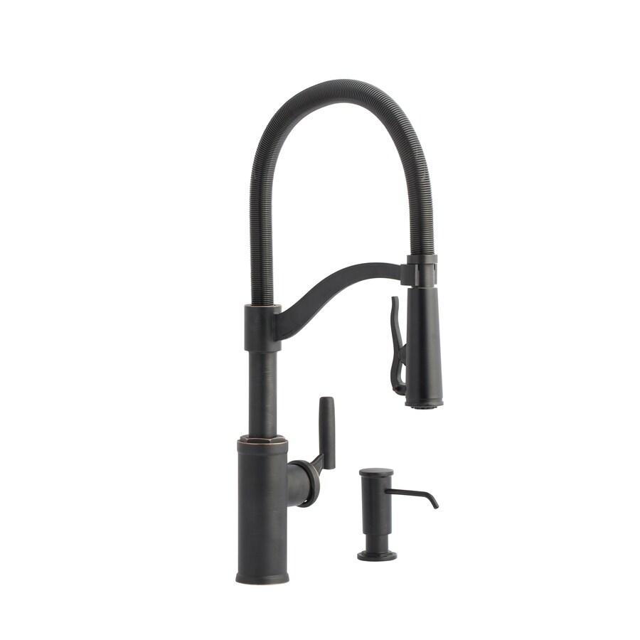 allen roth talbert oil rubbed bronze 1 handle deck mount pull down handle kitchen faucet