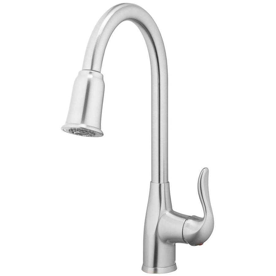 home2o zinnia brushed nickel 1 handle deck mount pull down handle kitchen faucet