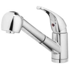 Kitchen Faucets With Sprayer Stainless Steel Backsplash At Lowes Com Home2o Schyler Chrome 1 Handle Deck Mount Pull Out Faucet