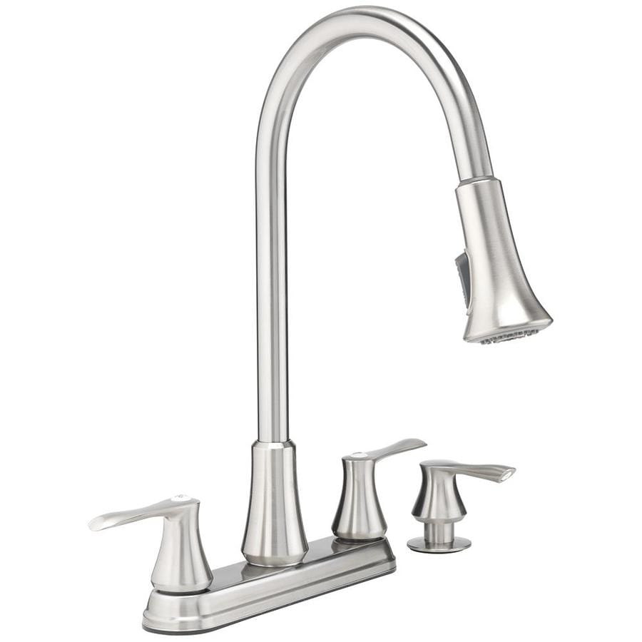 kitchen pull down faucet best way to remove grease from cabinets project source stainless steel 2 handle at