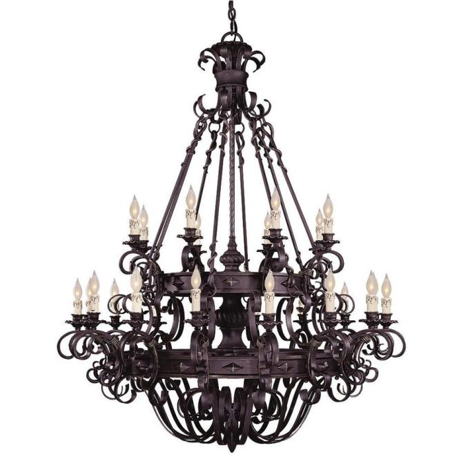 Shandy 48 In 24 Light Forged Black Candle Chandelier